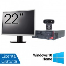 Pachet Calculator Fujitsu E410, Intel Core i3-3220 3.30GHz, 4GB DDR3, 500GB SATA + Monitor 22Inch + Webcam + Tastatura si Mouse + Windows 10 Home