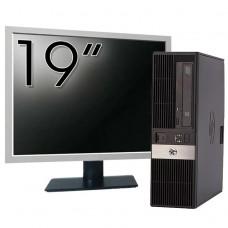 Pachet Calculator HP RP5800 SFF, Intel Core i3-2120 3.30GHz, 4GB DDR3, 250GB SATA, DVD-ROM, 2 Porturi Serial + Monitor 19 Inch